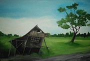 Bamboo House Painting Framed Prints - Bahay Kubo Framed Print by Robert Cunningham