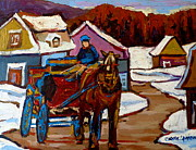 Horse And Buggy Painting Posters - Baie Saint Paul Quebec Country Scene Poster by Carole Spandau