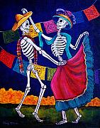 Day Of The Dead Painting Posters - Bailando Poster by Candy Mayer