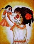 Painted Face Prints - Bailando con mi Muneca  Print by Al  Molina