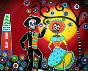 Mexican Fiesta Framed Prints - Bailar Framed Print by Pristine Cartera Turkus