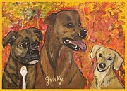 Boxer Paintings - Bailey Jake and Maggie by Paintings by Gretzky