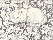 John Keaton Drawings - Bailey The Cat by John Keaton