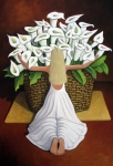 Wildlife Art Painting Posters - BaileyRae Lilies Poster by Lance Headlee