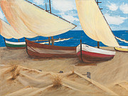 Sand Dunes Paintings - Baja Beach Dunes by L J Oakes