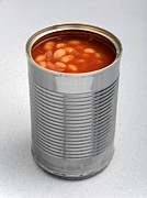 Canned Food Framed Prints - Baked Beans In A Can Framed Print by Victor De Schwanberg
