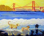 Stylized Art - Baker Beach Dogs 2 by Donald William