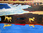 Doggies Paintings - Baker Beach Dogs by Donald William