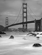 Black-and-white Metal Prints - Baker Beach Impressions Metal Print by Sebastian Schlueter (sibbiblue)