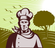 Chef Hat Prints - Baker chef  Print by Aloysius Patrimonio