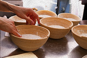Wooden Bowls Prints - Baker Hands and Wooden Bowls Print by Jorge Malo