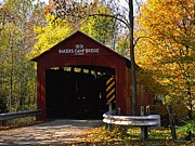 Indiana Autumn Posters - Bakers Camp Bridge Putnam County Indiana Poster by Marsha Williamson Mohr
