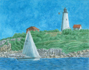 Sailboat Ocean Painting Originals - Bakers Island Lighthouse by Dominic White