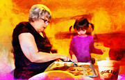 Youth Mixed Media Prints - Baking Cookies with Grandma Print by Nikki Marie Smith