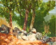 The Moment Painting Originals - Baking in the Sun by Claire Gagnon