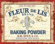 Cucina Prints - Baking Powder Fleur de Lis Print by Debbie DeWitt