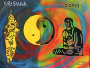 First Amendment Paintings - BALANCED BUDDHA and KRISHNA by Tony B Conscious