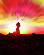 Southern Utah Digital Art Posters - Balanced Rock Sunset - Fire in the Sky Poster by Steve Ohlsen