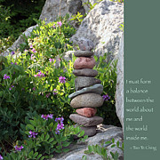 Buddhism Prints - Balancing Stones with Tao Quote Print by Heidi Hermes