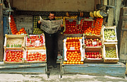 Balat Photos - Balat Fruit Vendor by Jeffrey Greenberg and Photo Researchers