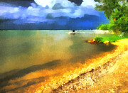 Sweating Painting Prints - Balaton shore Print by Odon Czintos