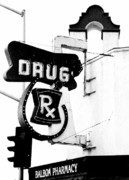 Black And White Reliefs Prints - Balboa Drug Print by Rosanne Nitti