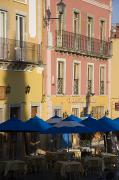 Guanajuato Prints - Balconies On Painted Houses Overlooking Print by David Evans