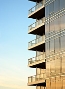 Angular Metal Prints - Balconies on Skyscraper Metal Print by David Buffington