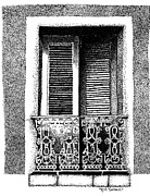 San Juan Drawings - Balcony in Old San Juan by Angel Serrano