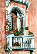 Karen Casciani Framed Prints - Balcony in Venice Framed Print by Karen Casciani