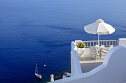 Santorini Prints - Balcony Over The Sea Print by Joana Kruse