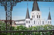 St. Louis Drawings Posters - Balcony View of St Louis Cathedral Poster by Valerie Chiasson-Carpenter