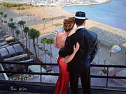 Illustrative Painting Prints - Balcony With A View Print by Theo Michael