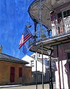Mardi Gras Painting Prints - Balcony with American Flag Print by John Boles