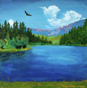 Lakeside Paintings - Bald Eagle at Hume lake - Psalm 103 verse 5 by Charles and Stacey Matthews