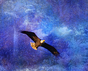 Layered Digital Art Prints - Bald Eagle Bringing A Fish Print by J Larry Walker