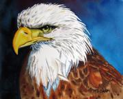 Eagle-eye Metal Prints - Bald Eagle Metal Print by Maria Barry