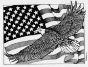 Flag Of Usa Drawings Posters - Bald Eagle Over American Flag Poster by Donald Aday