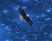 Wildlife Digital Art Posters - Bald Eagle Soaring Through Space Poster by J Larry Walker