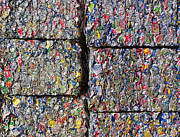 Compressed Metal Prints - Bales of Aluminum Cans Metal Print by David Buffington