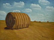 Farm Scenes Originals - Bales of hay by Roxanne Weber