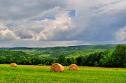 Country Scene Prints - Bales Of Morning Print by Emily Stauring