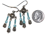 Silver Turquoise Jewelry - Bali Bead and Glass Turquoise Earrings by Elizabeth Carrozza