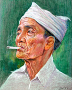 Old Face Pastels Framed Prints - Balinese old men Framed Print by Edi SP