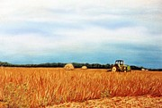 Rural Landscapes Pastels Prints - Baling Hay Print by Jan Amiss