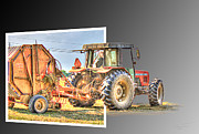 Hay Bales Digital Art Posters - Baling Out Poster by Barry Jones