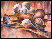 Golf Ball Painting Originals - Ball and Club by Jami Childers