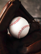 Baseball Art Prints - Ball and Glove Print by John Rizzuto