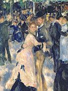 Black Men Painting Framed Prints - Ball at the Moulin de la Galette Framed Print by Pierre Auguste Renoir