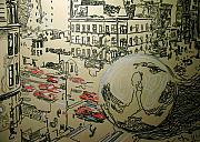 Downtown Pastels Metal Prints - Ball in the city Metal Print by Jacob  Hitt